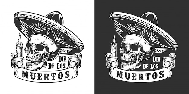 Monochromes etikett von dia de los muertos