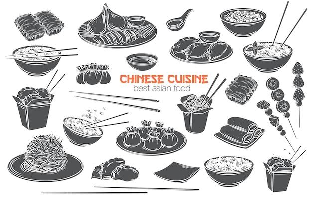 Monochromes glyphen-isoliertes schnittikonset der chinesischen küche. asiatisches essen eingraviert