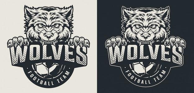 Monochromes logo der weinlesefußballmannschaft