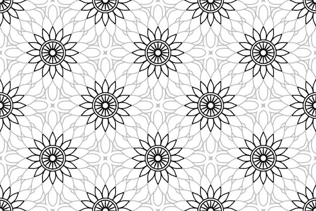 Monochromes nahtloses mandala-muster