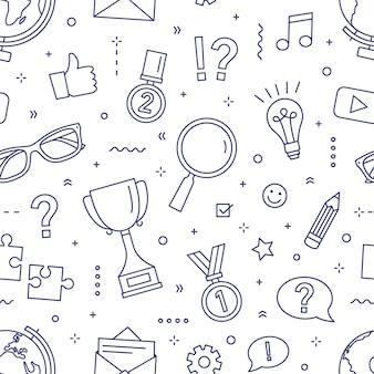 Monochromes nahtloses muster mit puzzles, rätseln, quizturnieren oder wettbewerben, wissenstest, intelligenten spielelementen.