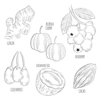 Monochromes superfood-sammlungskonzept