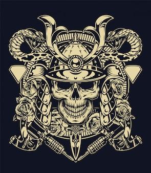 Monochromes tattoo-konzept