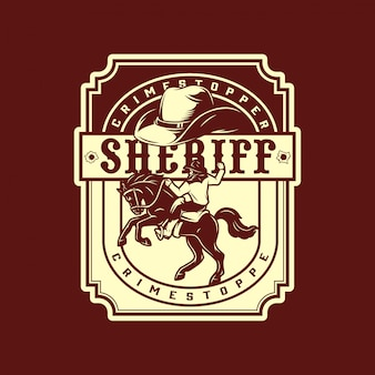 Monochromes vintage-emblem des wilden westens