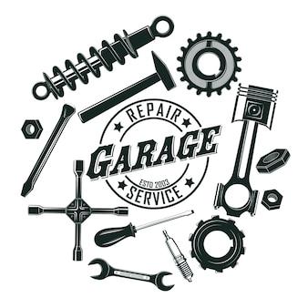 Monochromes vintage garagenwerkzeug-rundkonzept