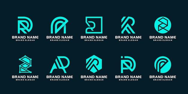 Monogram r logo-kollektion mit kreativem, modernem konzept