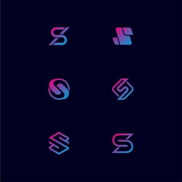 Monogramm-buchstabe s logo design bundling