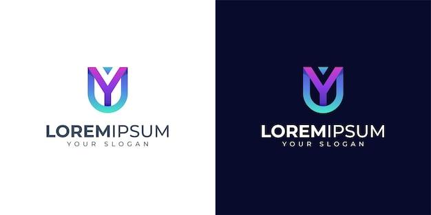 Monogramm buchstabe y und u logo design