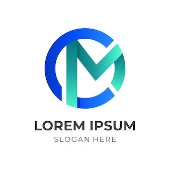 Monogramm-cm-logo-design mit 3d-farbstil in grün und blau