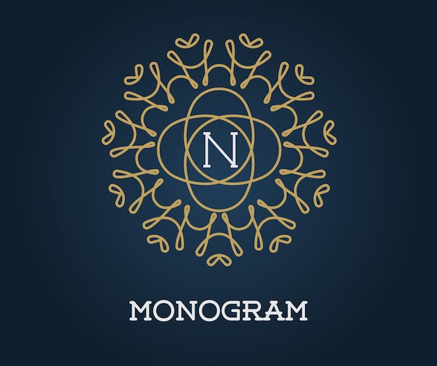 Monogramm-design-vorlage mit buchstabenillustration premium elegant quality gold auf navy blue
