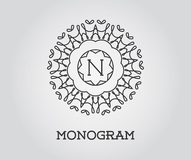 Monogramm-entwurfsvorlage mit buchstabe n.