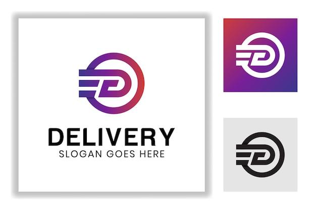 Monogramm-farbverlaufsbuchstabe d mit schnellgeschwindigkeitssymbol für die express-logo-vorlage für die lieferlogistik