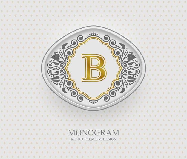 Monogramm-gestaltungselemente, kalligraphische anmutige schablone, buchstabenemblem b,