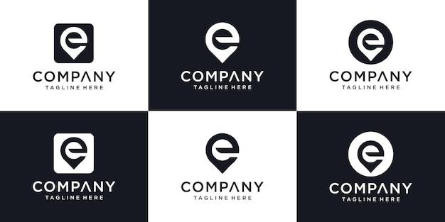 Monogramm-logo aus wasser mit abstrakten initialen buchstabe e logo-design
