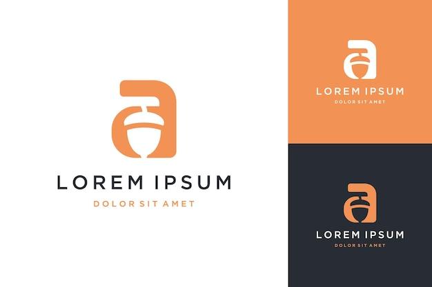 Monogramm-logo-design oder initialen buchstabe a mit erdnuss