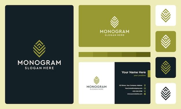 Monogramm-logo mit anfangs- und wachstumsbuchstaben. vektorprämie.