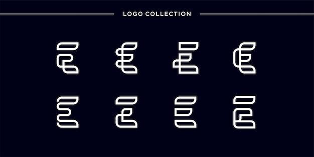 Monogramm-logo mit strichgrafik-buchstaben e, glatt, schönheit, initiale, monogramm-logo, strichgrafik-logo