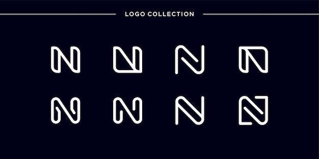 Monogramm-logo mit strichgrafik-buchstaben n, glatt, schönheit, initiale, monogramm-logo, strichgrafik-logo