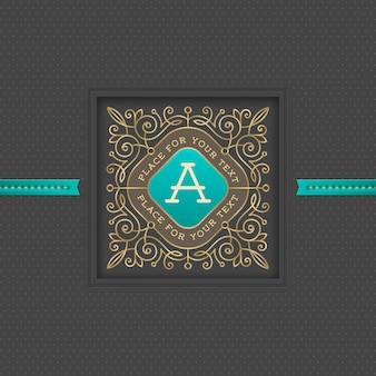 Monogramm-logo-schablone mit den kalligraphischen eleganten verzierungselementen des schnörkels.