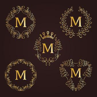 Monogramm-logos eingestellt