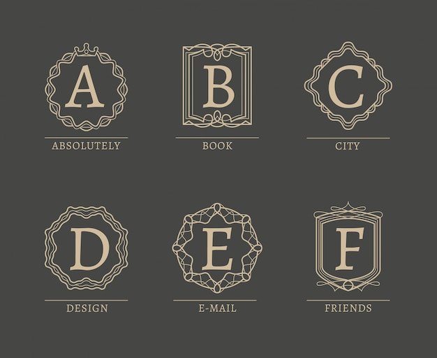 Monogramm-logos in der modischen linie weinleseart