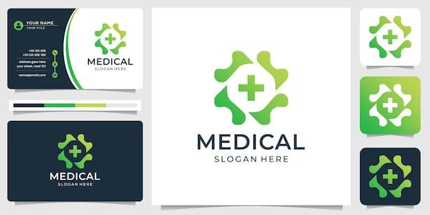 Monogramm medizinisches linienlogo und visitenkartenschablone
