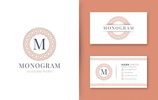 Monogrammabzeichen mit visitenkarte