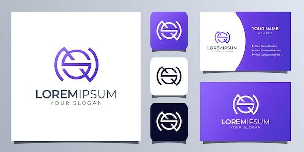 Monogrammbuchstaben s und n-logo mit visitenkartenschablone