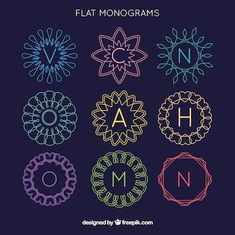Monogramme sammlung von farben in flachem design
