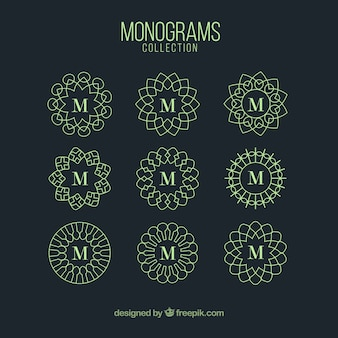 Monogramme sammlung von grüner farbe