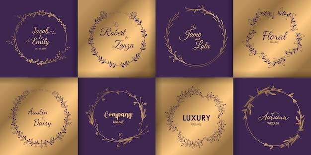 Monogramme und blumenkranz, luxus-design-set