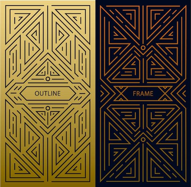 Monogrammelemente im trendigen vintage- und mono-linienstil mit platz für text