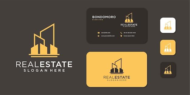 Monogrammlogo der architektur des immobiliengebäudes mit visitenkarte