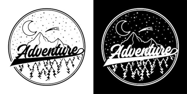Monoline-abzeichen mit abenteuer-logo-design