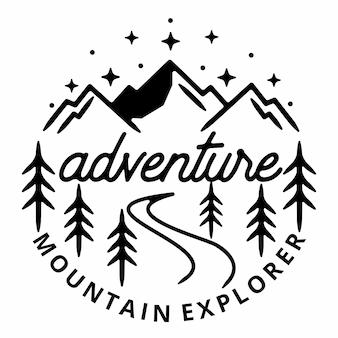 Monoline adventure vintage outdoor-abzeichen-design