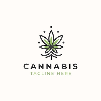 Monoline cannabis logo vorlage.
