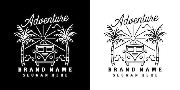 Monoline design vintage outdoor mit van und bäumen