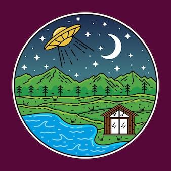Monoline mountain mit ufo-badge-design