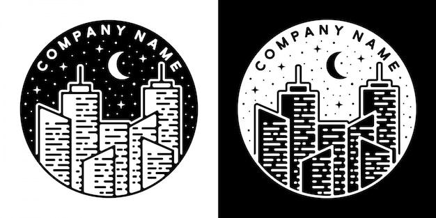 Monoline vintage abzeichen design stadt gebäude in der nacht