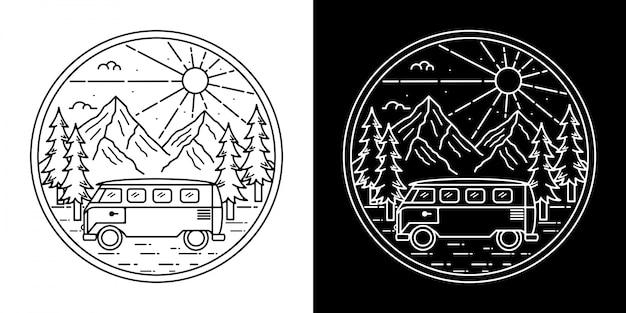 Monoline vintage abzeichen design