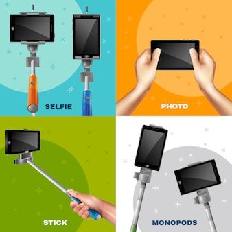 Monopod selfie design-konzept