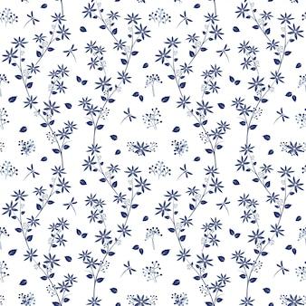 Monoton auf blauem schatten blüht nahtloses muster des gartengartens