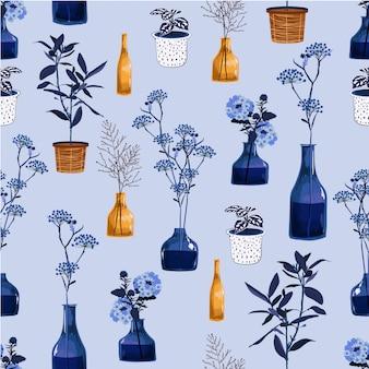 Monoton von modernen blumen und von vase, topf mit pflanzenillustration im nahtlosen musterdesign des vektors für fasion, gewebe, tapete und alle drucke