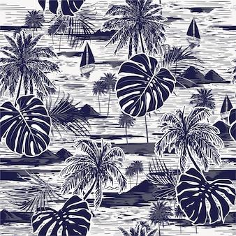 Monotone vektorhand gezeichnet auf nahtloses inselmuster des marineblaus