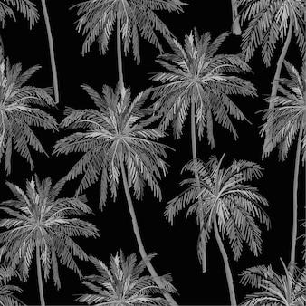 Monotones schwarzes und graues schattenbild des nahtlosen musters des botanischen vektors der palmen