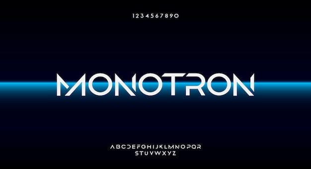 Monotron, eine abstrakte futuristische alphabetschrift mit technologiethema. modernes minimalistisches typografie-design