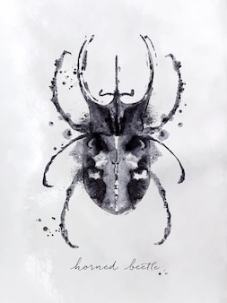 Monotypehornetkäferzeichnung mit schwarzweiss auf papierhintergrund