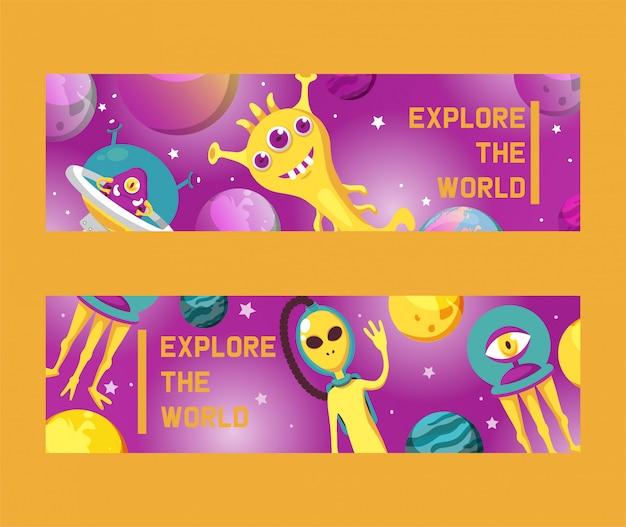 Monster alien satz banner illustration. cartoon monströse figur, niedliche entfremdete kreatur oder lustiger gremlin. raumschiff im kosmos unter sternen.