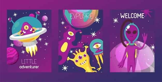 Monster alien satz kartenillustration. cartoon monströse figur, niedliche entfremdete kreatur oder lustiger gremlin. raumschiff im kosmos unter sternen.