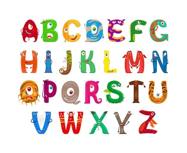 Monster-alphabet. lustige monsterfiguren abc